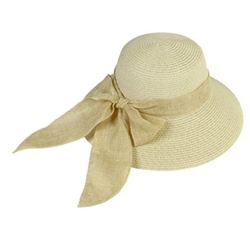 Uxcell  - Ladies Fashion Linen Bow Decor Straw Braid Summer Sun Hat