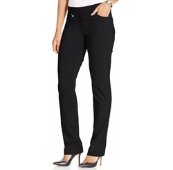 JM Collection - Curvy-Fit Five-Pocket Slim-Leg Pants