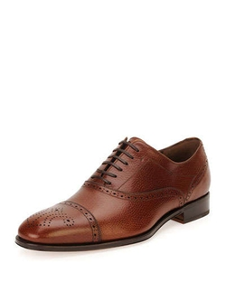 Salvatore Ferragamo  - Caesy Textured Calfskin Oxford Shoes