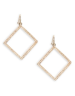 A.B.S. By Allen Schwartz  - Pave Diamond-Shaped Drop Earrings