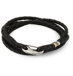 Paul Smith Shoes & Accessories   - Woven-Leather Wrap Bracelet