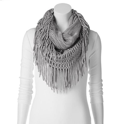 Madden Girl - Fringed Open-Knit Infinity Scarf