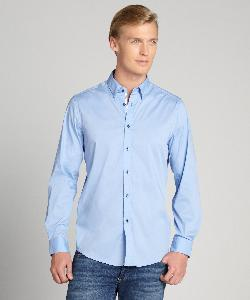 Report Collection - Blue Long Sleeve Solid Stretch Button Down Shirt