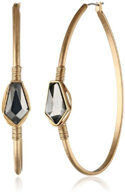 Kenneth Cole New York  - Bead Large Oval Hoop Earrings