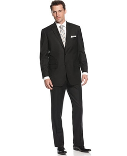 Perry Ellis  - Comfort Stretch Black Tonal Stripe Notch Lapel Suit