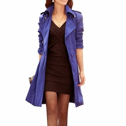 Vobaga - Lapel Collar Double Breasted Belted Trench Coat