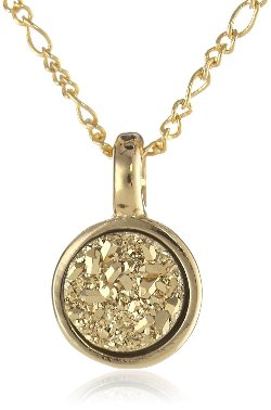 "Marcia Moran  - ""Glamour"" 18k Gold-Plated Druzy Small Circle Pendant Necklace"