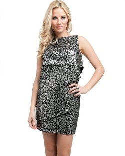 MOD 20 - Metallic Tiered Animal Print Dress