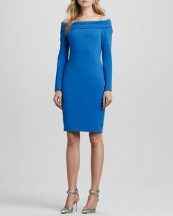 Halston Heritage  - Long-Sleeve Off-Shoulder Ponte Dress
