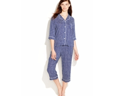 DKNY - Notch Collar Top and Capri Pajama Pants Set