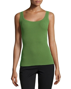 Michael Kors - Ribbed Wide-Scoop Tank Top