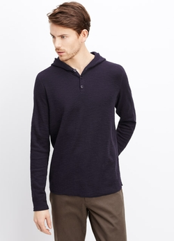 Vince - Thermal Hooded Henley Sweater