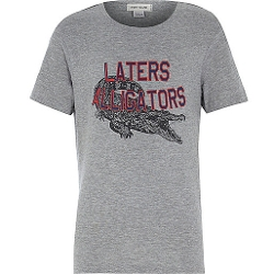 River Island - Boys Grey Later Alligator Print T-Shirt