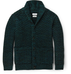 Richard James   - Shawl-Collar Herringbone Wool Cardigan