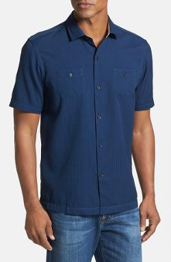 Tommy Bahama - Soundwave Island Modern Fit Short Sleeve Cotton & Silk Sport Shirt