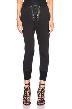 Unravel - Lace Front Cotton & Leather Sweatpants