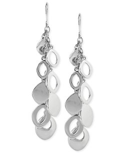 Kenneth Cole New York  - Silver-Tone Oval Disc Linear Earrings