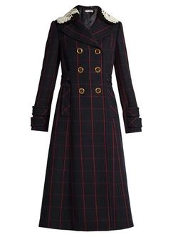 Miu Miu   - Lace-Collar Finestrato-Check Double-Breasted Coat
