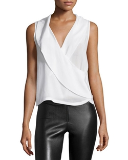 Alice + Olivia  - Sleeveless Asymmetric Wrap Top