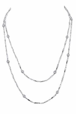 House of Harlow 1960  - Palladium Crystal Chain Necklace