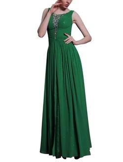 Kingmalls - Jewel Beads Dark Green Sparkly Prom Dress