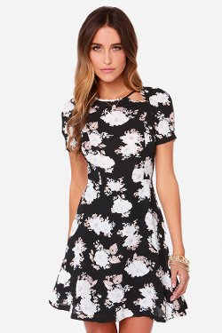 BB Dakota - Reena Black Floral Print Dress