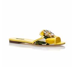 Dolce & Gabbana - Leather Lemon Printed Slide Sandals