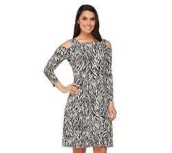 George Simonton - Zebra Print Open Shoulder Dress