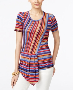 ECI  - Striped Asymmetrical-Hem Top