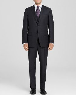 Canali  - Firenze Textured Solid Three-Piece Suit - Classic Fit