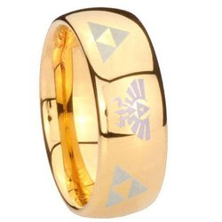 Tungstenmen - Gold IP Dome Engraved Ring