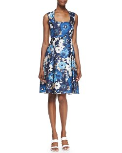 Kate Spade New York   - Autumn Floral Scoop-neck Dress