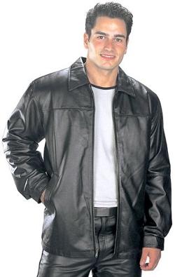 USA Leather - Black Leather Hip Length Jacket