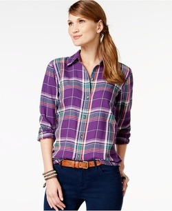 American Living - Plaid Button-Front Shirt