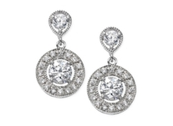 B. Brilliant - Cubic Zirconia Double Drop Earrings