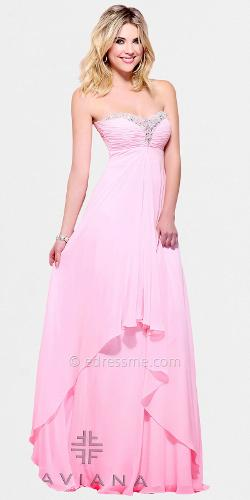 Faviana - Strapless Beaded Neckline Chiffon Evening Dresses