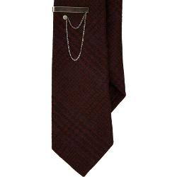 Title Of Work - Diamond-Pattern Neck Tie With Tie Bar