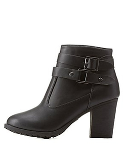 Charlotte Rrusse - Belted Chunky Heel Ankle Booties