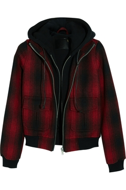 R13 - Hooded Plaid Woven Bomber Jacket