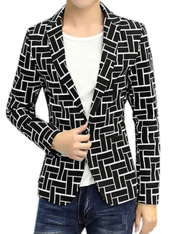 Uxcell - Notched Lapel Printed Slim Fit Blazer