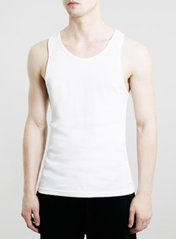 Topman - White Ribbed Tank Top