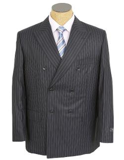 Silvio Bresciani - Mens Navy Blue Double Breasted Super 120 Italian Wool Suit