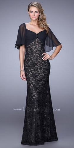 La Femme - Fluttering Chiffon Cape Evening Dress