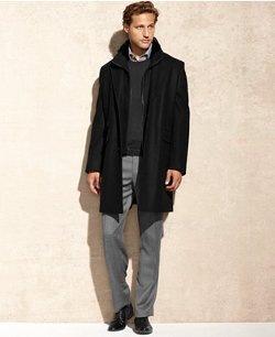 Michael Kors  - Wool-Blend Faux Fur Trim Overcoat