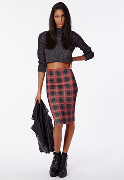 Missguided - Tartan Scuba Midi Skirt