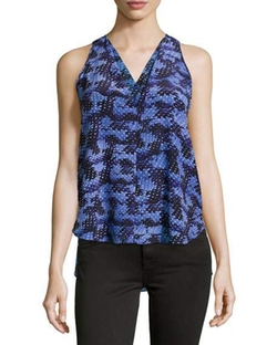 Rebecca Taylor - Abstract-Print Silk V-Neck Top