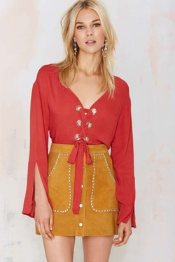 Nasty Gal  - Cross Up Lace-Up Blouse
