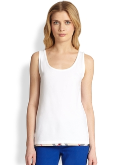 Burberry Brit - Scoopneck Check-Trim Tank Top