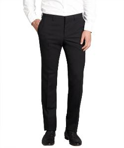 Prada  - Black Wool Blended Flat Front Straight Leg Dress Pants