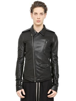 Rick Owens  - Stoogers Lamb Leather Biker Jacket